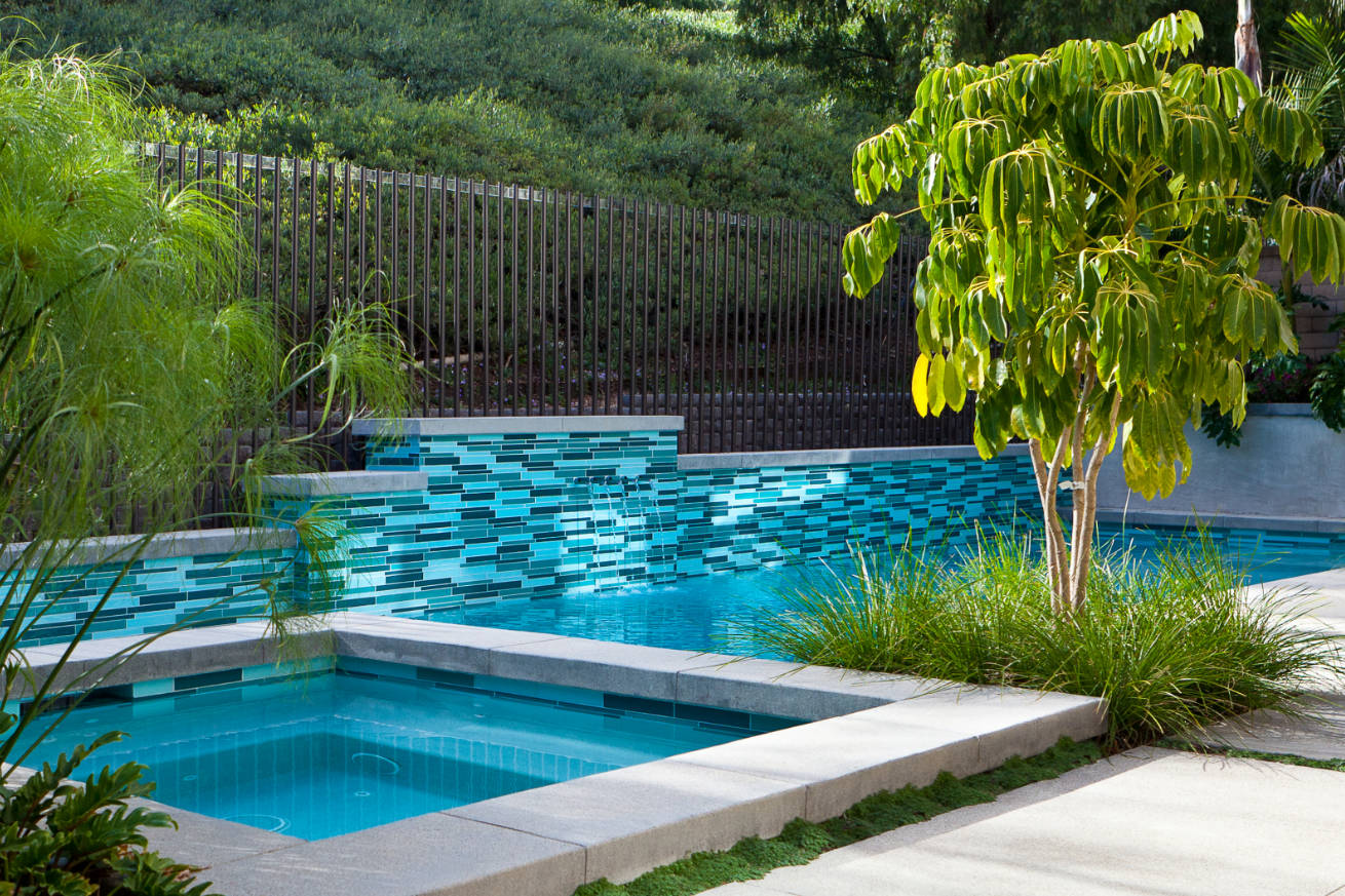 Laguna Hills Pool glass tile installation