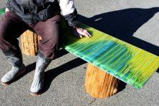 ribbon glass bench