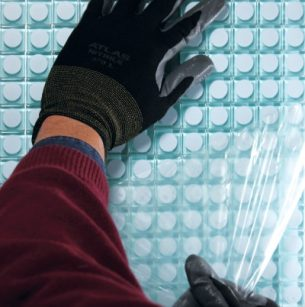 meshed pool assemblies, face mounted with clear high tack film for easy installation