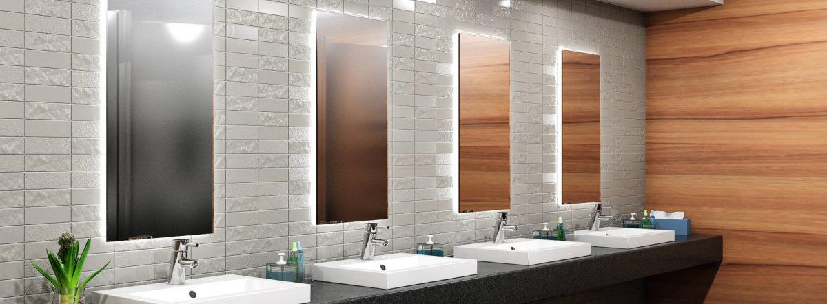 Como Glass Tile Washroom Backsplash