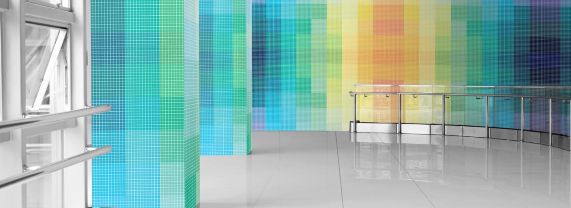 A virtual oasis of color, the glass mosaic adds an aesthetic and uplifting touch to the atmosphere.