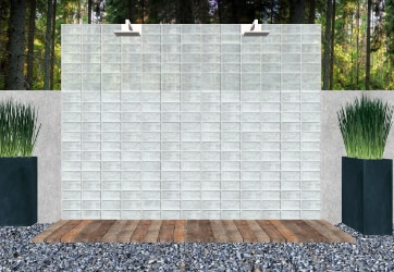 glass brick outdoor shower inspiration