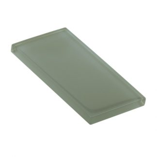 Heathered Green Glossy Glass Tile