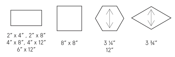 Earthenglass shapes and sizes