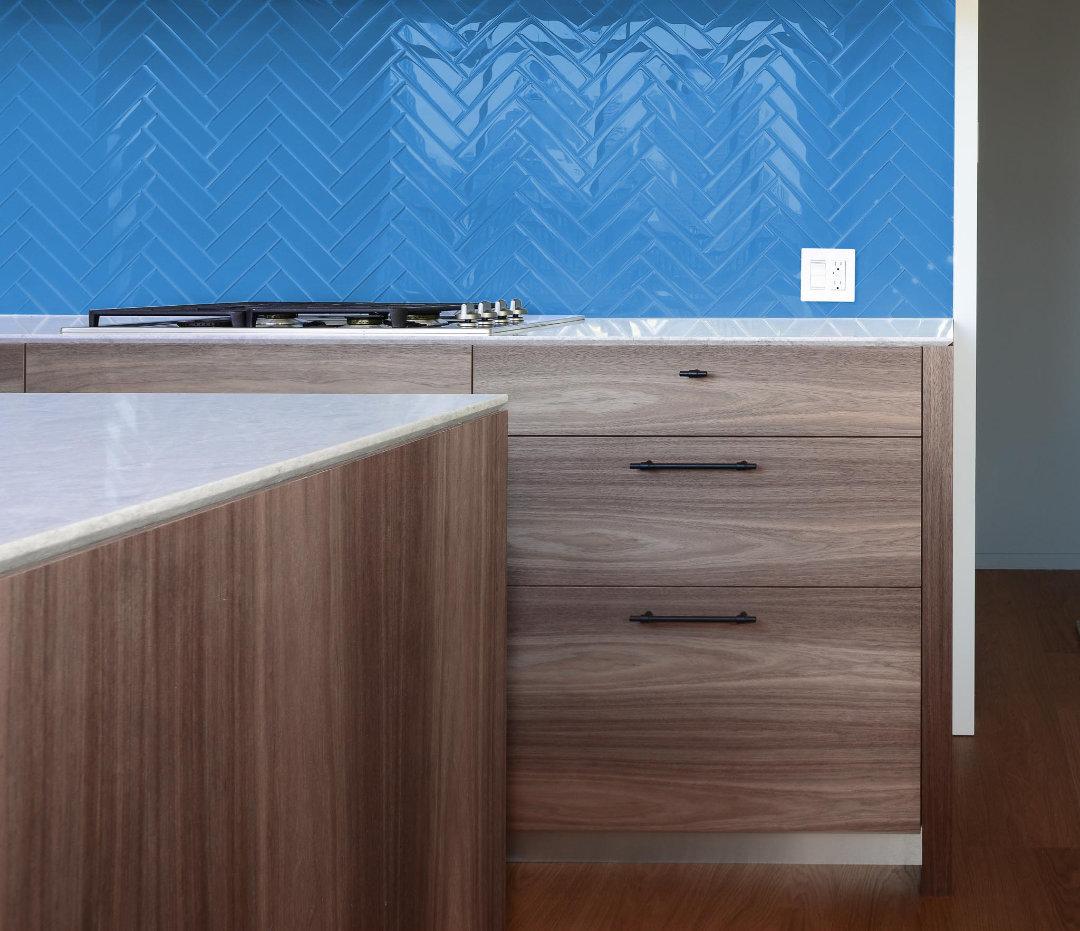 Light Cobalt Kitchen Backsplash Glass Tile Mosaic inspired by Pantone's Classic Blue