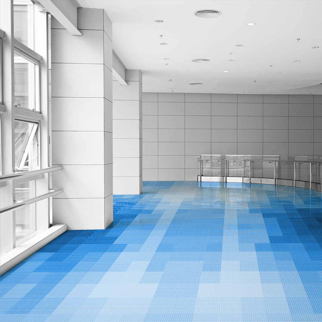 Light Cobalt Lobby Floor Glass Tile Mosaic inspired by Pantone's Classic Blue