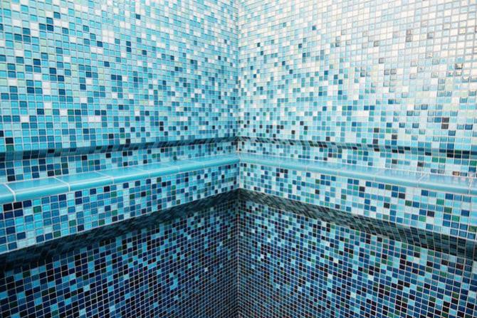 glass tile pool installation corner