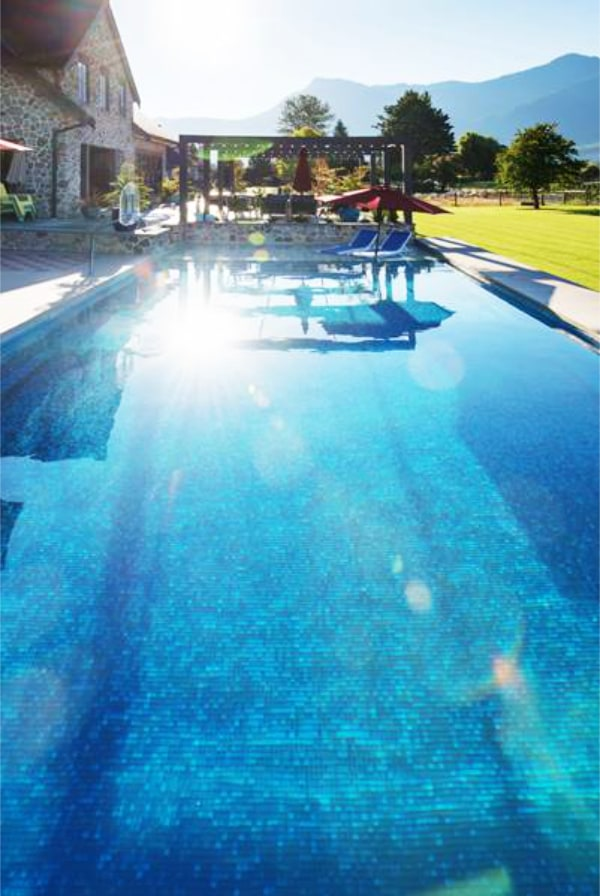 glass tile pool installation top view