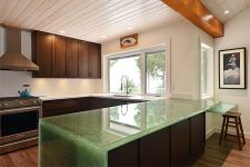 Sechelt Seaside Renovation - glass countertop